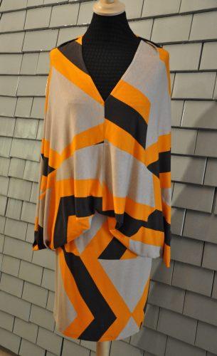 Jerseykleid - grafisch - orange, 3